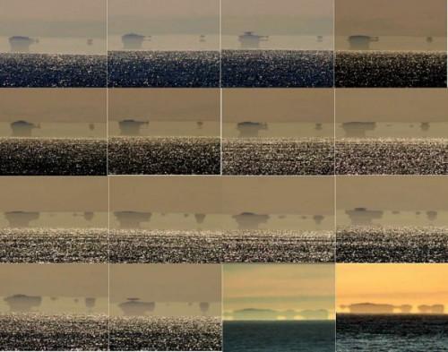 Plusieurs prises de vue de ce phénomène, on peut voir ici l'image se déformer au fil du temps.