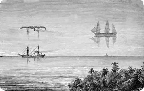 """Illustration peu scientifique et surtout peu réaliste d'une Fata Morgana, mais cette interprétation pourrait expliquer la légende du navire fantôme, le fameux """"Hollandais Volant"""" !"""